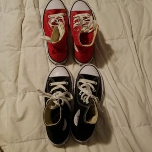 Two pairs of Boys Converse Hightop shoes $20